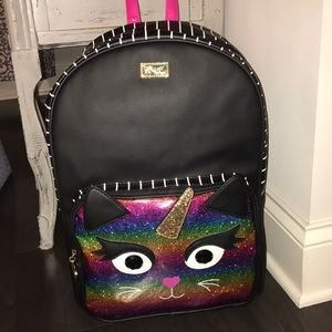 Betsey Johnson Black Cat unicorn backpack